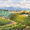 Margo Pullman Oil Painting: Campriano Vineyard